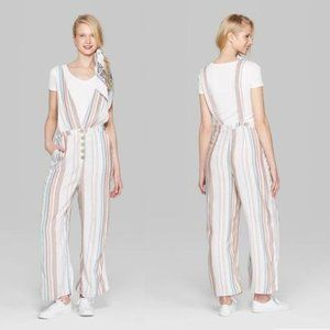 Wild Fable Sleeveless Button Striped Jumpsuit